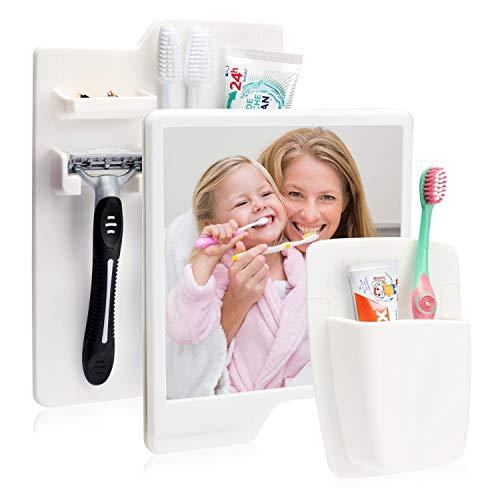 Utile 3-Set Selbstklebender Zahnbürsten - und Rasierhalter + Zahnbürstenhalter inklusive Badspiegel für Kinder und Erwachsene (Weiss)