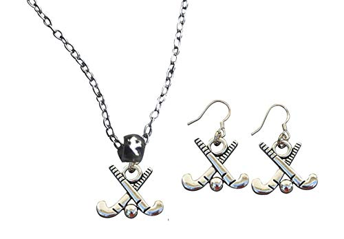 BAB ield Hockey Charm Necklace & Earring Gift Set, Field Hockey Jewelry, forl Field Hockey Players, Moms and Coaches