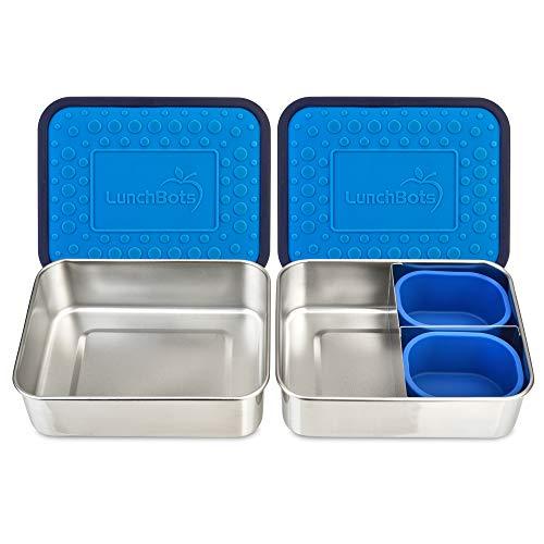 LunchBots Bento Box Set 2 x Edelstahl Frischhaltedosen mit und ohne Trennwand | mit Silikon-Behältern | Kinder u. Erwachsene, Schule u. Arbeit | Spülmaschinenfeste Brotdosen, Jausenboxen | Blau