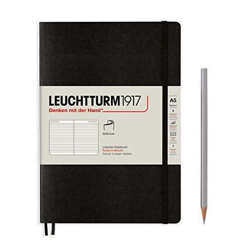 Notizbuch Medium A5 liniert Softcover schwarz