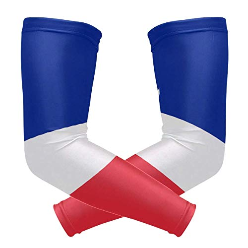 French Flag Unisex Sports Sunscreen Arms Tattoo Sleeves UV Protection Cooling Compression for Golf Cycling Running Fishing Basketball Outdoors