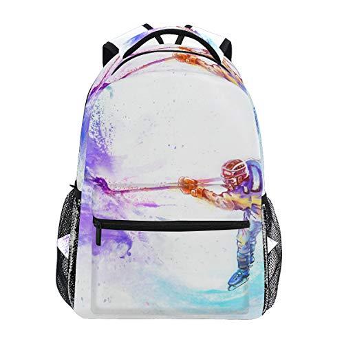 Wintersport Eishockey Schulrucksack für Jungen Mädchen Kinder Reisetasche Bookbag