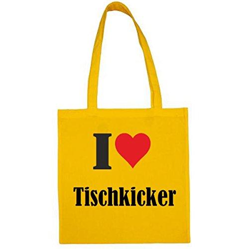 Tasche I Love Tischkicker Größe 38x42 Farbe Gelb Druck Schwarz