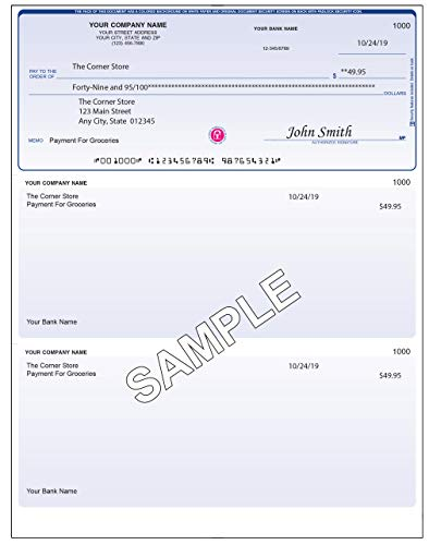 Checks for Less Business Checks, Laser Voucher Checks with Lines, Top Check Format w/Two Vouchers – QuickBooks Compatible Checks, Business Laser Checks or Inkjet (Classic Blue, Quantity 100)