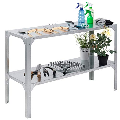 Giantex Galvanized Steel Workbench Worktable Workstation Prepare Work Potting Table Two Tier Storage Shelf