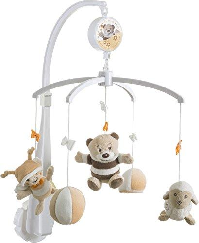 BIECO baby soft-muziek mobiel van zacht pluche geniet en kalmeert de blikvanger op het kinderbed, de wikkeltafel of de speelboog. Voor baby's vanaf 0 maanden Beer Bubu 1 - Pack beige