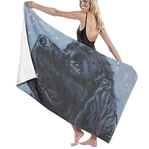 Lsjuee Toalla de baño de 80x130 cm, Retrato artístico de Perro de Terranova de una Pintura Original Toallas de baño Toallas de baño de Playa súper absorbentes para Gimnasio Toallas de Playa