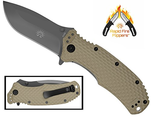 Off-Grid Knives - Rapid Fire Coyote - Hard Use Camping & Survival EDC Knife, Cryo Japanese AUS8 Blade, Titanium Nitride Coating with FRN Scales (Fiber Reinforced Nylon) & All-Position Mounting Clip