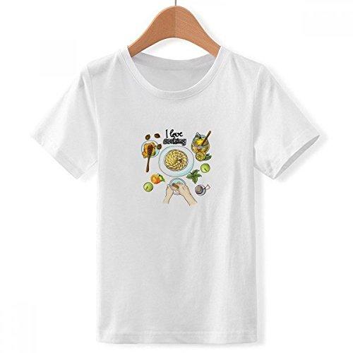 DIYthinker Jongens Ik hou van het koken geslagen eieren honing met ronde hals wit T-shirt