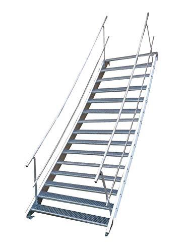 Escalera de acero industrial, escalera exterior, 15 peldaños, ancho de 80 cm, altura de planta variable 250 – 320 cm, galvanizada con barandilla a ambos lados