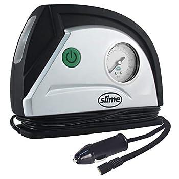 Slime 40050 12V Tire Inflator Portable Air Compressor Auto Pump with 100 psi Gauge Long Hose and LED Light