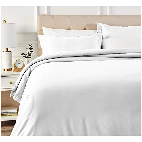 Amazon Basics 400 Thread Count Cotton Duvet Cover Set with Sateen Finish - Full/Queen, White