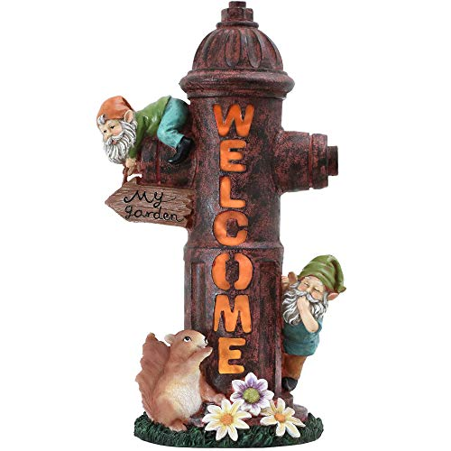 Kücheks Solar Garden Ornaments Outdoor, 39.5cm Fire Hydrant House and WELCOME Sign Illuminated Garden Statue, Waterproof Resin Dwelling Ornament for Yard Lawn Fall Decorations and Gift
