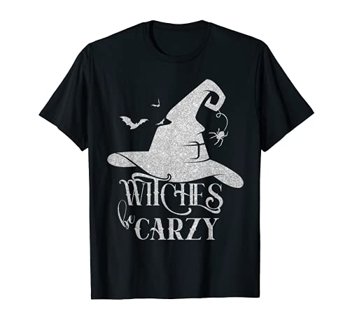 Witches Be Crazy Witch Hat & Moon Halloween Familia a juego Camiseta