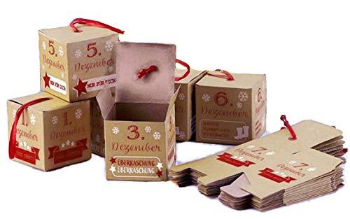 Bada Bing 24 TLG. Adventskalender Zum Basteln Mit Geschenkboxen Ca. 6 x 6 x 6 cm Zum Zusammenfalten Mit Roten Aufhängern Zum Selbstbefüllen Kalender Adventszeit Weihnachten Für Kinder Erwachsene 17