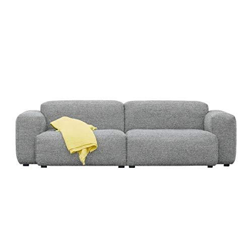 HAY Mags Soft 2,5-Sitzer Sofa Armlehne niedrig, hellgrau Naht hellgrau Stoff Divina Melange 120 Füße Kiefernholz schwarz gebeizt mit Filzgleitern