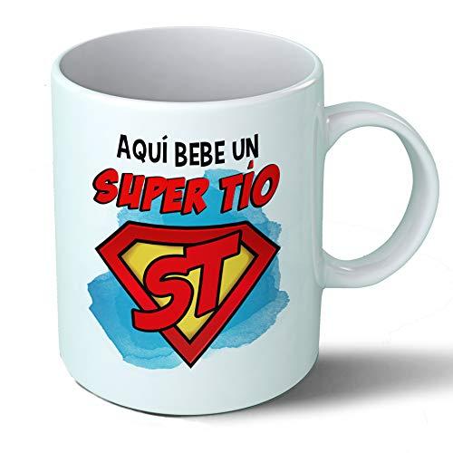 Planetacase Taza Tio - Aquí Bebe Un Super Tío - Regalo Original Tios Supertio Familia Taza Desayuno Café Ceramica 330 mL