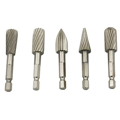 5Pcs Burrs Rotary File Rasp HSS Drill Bits 1/4' Hex Shank Tool for Grinding Polishing