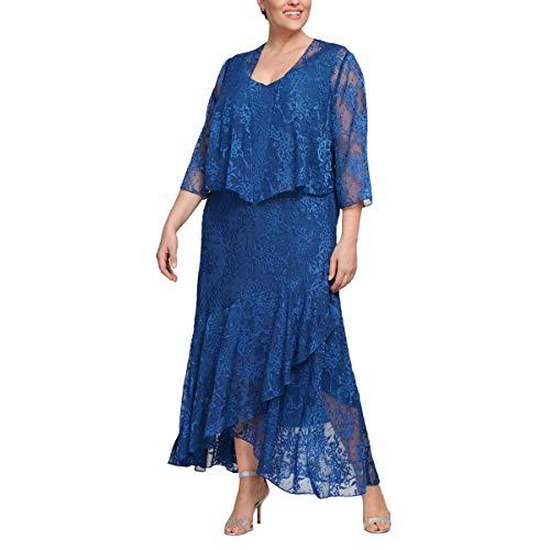 Alex Evenings Women's Plus Size Tea Length Printed Chiffon Dress with Shawl, Royal, 18W