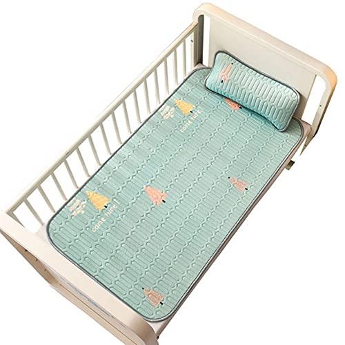youwu Matelas respirant en soie glacée pour lit de bébé - Matelas à langer lavable - Motif dessin animé d'été - Couleur : vert - Taille : avec taie d'oreiller