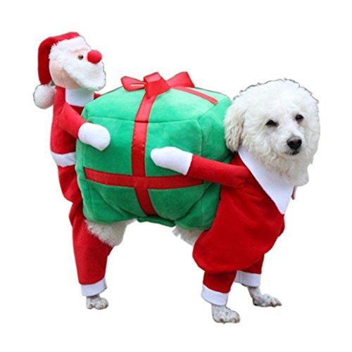 RETUROM Ropa para Mascotas de Navidad, Santa Regalo Traje de Disfraces de Ropa de Navidad de Vestir