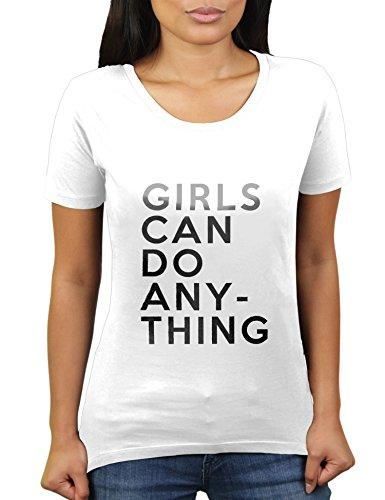 Girls Can Do Anything - Damen T-Shirt von KaterLikoli, Gr. S, Weiß