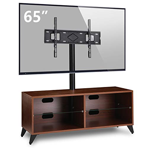 5Rcom Wood Entertainment Center TV Stand Console with Swivel Mount for 32 37 42 47 50 55 60 65 inch Flat Panel and Curved Screen TVs Media Center TV Cabinet with Storage for Gaming,Xbox,Walnut