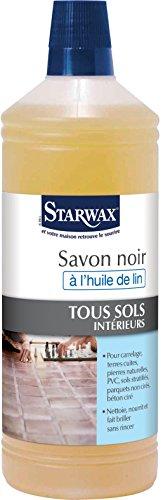 STARWAX Savon Noir à l'Huile de Lin pour Sols Intérieurs - 1L - Nettoie et Fait Briller les Sols et Surfaces Lavables