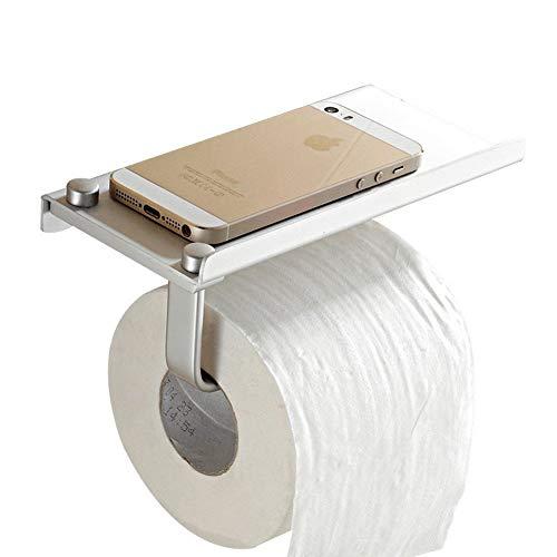 Amycute Soporte de papel higiénico, Portarrollo para Papel Higiénico de aleación de aluminio, de montaje en pared estante del almacenaje del teléfono móvil con Tornillos