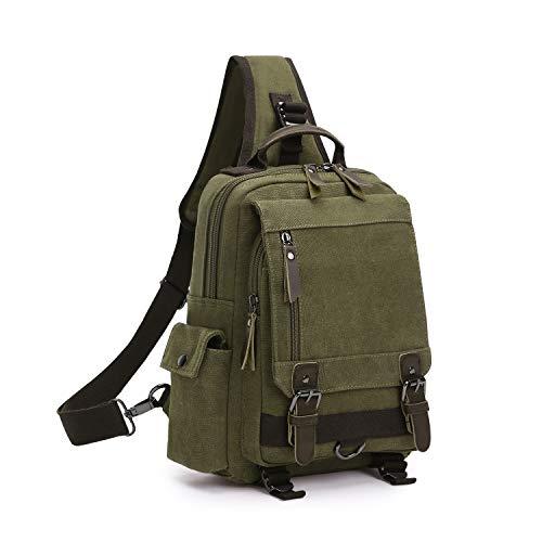 Wind Took Schultertasche Canvas Brusttasche Sling Rucksack Crossover Bag Vintage Umhängetasche Outdoor Daypack für Herren Damen (Armee grün)