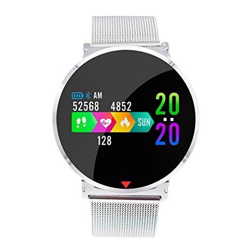 Gymfox Fitnesstracker, IP67, waterdichte activiteitstracker met stappenteller en slaapmonitor, calorieënteller, horloge, smart armband voor vrouwen en mannen zilver