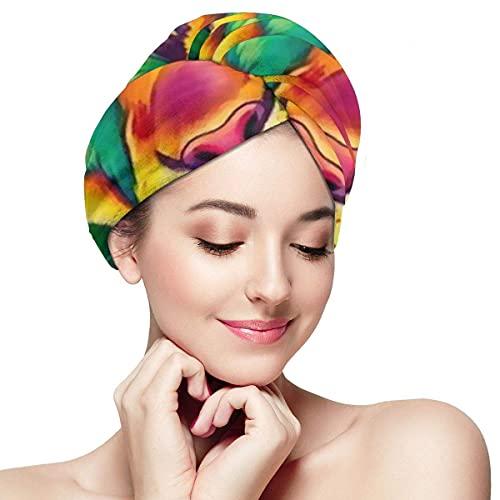 Toalla de secado de pelo para mujer, turbante con botón Rainbow León?Acuarela suave absorbente microfibra gorro de baño turbante para cabello largo y rizado