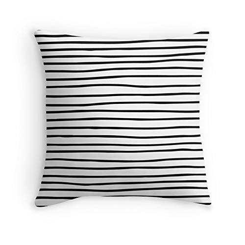 HOJJP - Federa per divano e letto, stile moderno, semplice, alla moda, con motivo a righe, colore: nero, bianco, per divano e soggiorno, letto decorativo (quadrato 26 x 26)