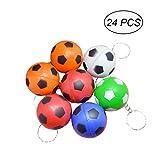 TOYMYTOY Portachiavi con ciondoli di pallone di calcio colorati 24PCS(Colore casuale)