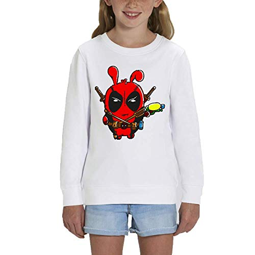 LookMyKase Sweat - Manche Longue - Col Rond - Red - Fille - Blanc - 12-14ans