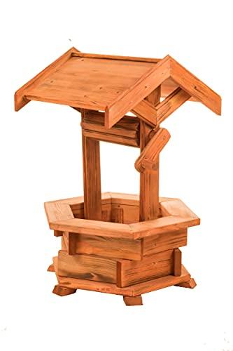 Holzbrunnen für den Garten, Gartenbrunnen aus Holz, Deko Brunnen, Gartendeko witterungsbeständig, mit Dach, (Erle)