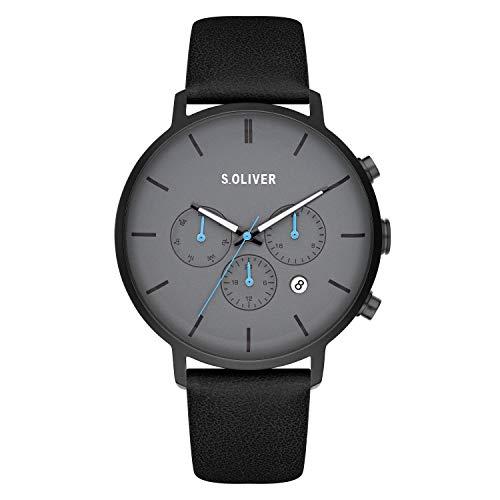 s.Oliver Time Herren Analog Quarz Uhr mit Kunstleder Armband SO-4166-LM