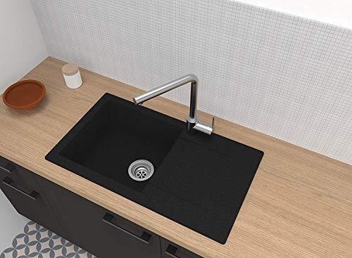 respekta DENVER78X44S, 60% Verbundmaterial aus Mineralstoffen und Glasfasern, 40% Kunstharz, Schwarz, 78 x 44 cm