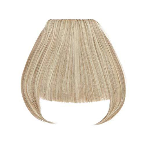SEGO Frangia Capelli Clip Frangetta Finta Frontale Fascia Unica Corta Bangs Hair Extension Lisci Posticci Donna 30g Biondo Naturale mix Biondo Chiarissimo