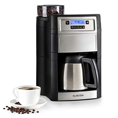 Klarstein Aromatica II Thermo - Máquina de café con molinillo cónico, 5 niveles, Jarra térmica 1,25 L, Temporizador 24h, Filtro de carbón activo, Potencia 1000 W, Antigoteo, Display LED, Gris
