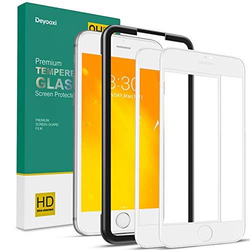 Deyooxi 2 Pezzi Vetro Temperato per iPhone 7 Plus/iPhone 8 Plus, Curva Full Screen Pellicola Protettiva Screen Protector Film, 9H Durezza Copertura Completa Protezione Schermo, Bianco