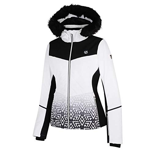 Dare 2b Damen Iceglaze Waterproof & Breathable High Loft Insulated Faux Fur Hooded Ski & Snowboard Jacket with Detachable Snowskirt and Headphone Port wasserdichte, isolierte Jacken, weiß, 40
