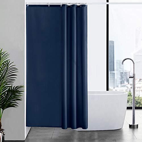 Furlinic Duschvorhang Textil Anti-schimmel Wasserdicht Waschbar Badvorhang aus Polyester Stoff Dunkelblau 120x200cm mit 8 Duschvorhangringen.