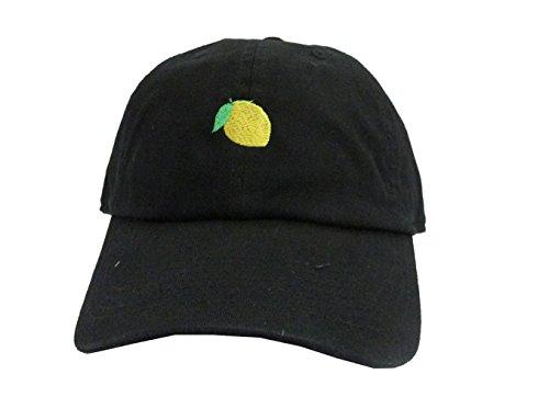 Lemon Emoji Black Unstructured Twill Cotton Unisex Low Profile Dad Hat Cap