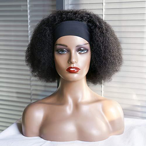 FZYHair Parrucche Ricci Crespi Afro Kinky Curly Human Hair Wigs With Headband Parrucca Afro Ricci Nero Capelli Veri Ricci Per Donne Nere Parrucca Afro Wigs Da 14 Pollici 180% Di Densità Naturale