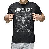 The Winchester Deer Skull Crossed Rifles Vintage T-Shirts for Men Dark Heather Grey