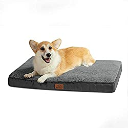 EGG CRATE FOAM: Bedsure dog bed crate evenly distributes pet's weight to alleviate pressure on joints & bony areas - Resemble the bottom of an egg carton, this bumpy surface is softer than a solid block of foam and helps air circulate to keep puppies...