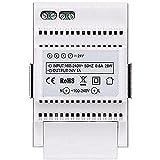 Vimar 40103 Alimentador para videoportero con salida 24 Vdc, alimentación 100-240 V~ 50/60 Hz, instalación en riel DIN (60715 TH35), ocupa 3 módulos de 17,5 mm, blanco