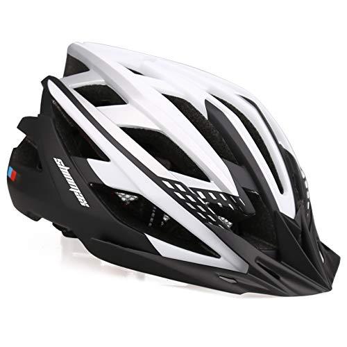 Shinmax Fahrradhelm,CE-Zertifikate,Fahrradhelm für Männer Frauen mit USB-Ladelampe Abnehmbare Sonnenblende Tragbare Tasche & Reflexgurte Reflektierender Aufkleber Mountain Road Fahrradhelm