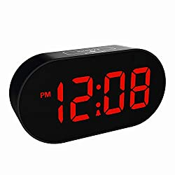 Plumeet [Updated Version] LED Alarm Clock - Digital Clocks with Adjustable Brightness Dimmer and Alarm Volume - Red Digit Display 12-24 Hrs - Kids Clocks with Snooze USB Port Phone Charger (Red)